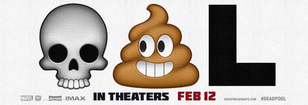 Emoji advertising for an irreverent anti-hero flick: Deadpool